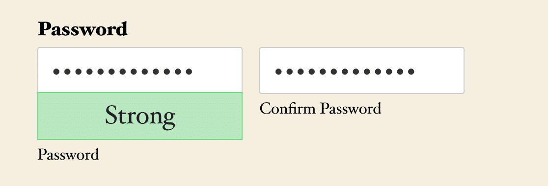 A Password field with a strength meter and Confirm Password field