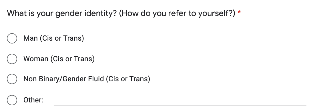 Example of a closed question with an other option in a questionnaire