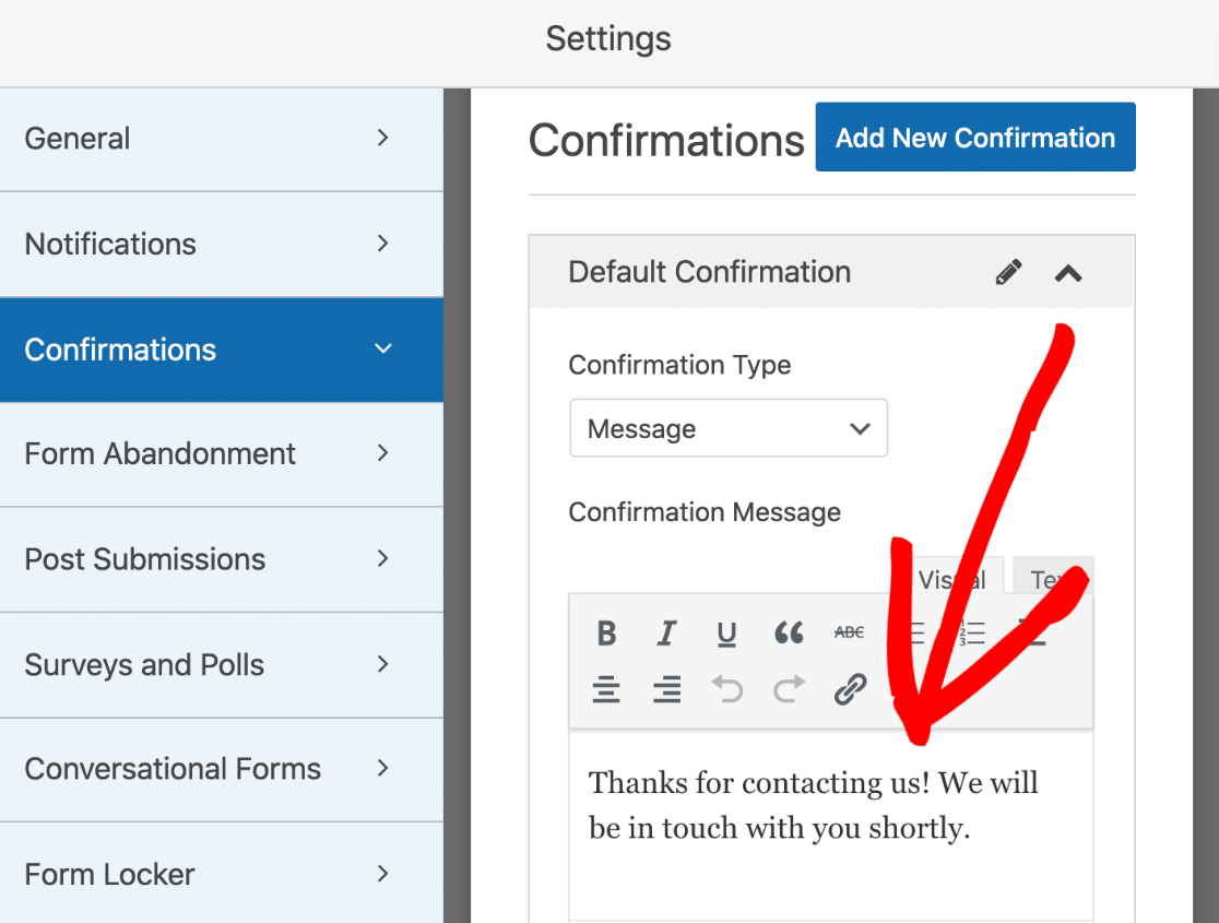 Refer-a-friend form confirmation settings