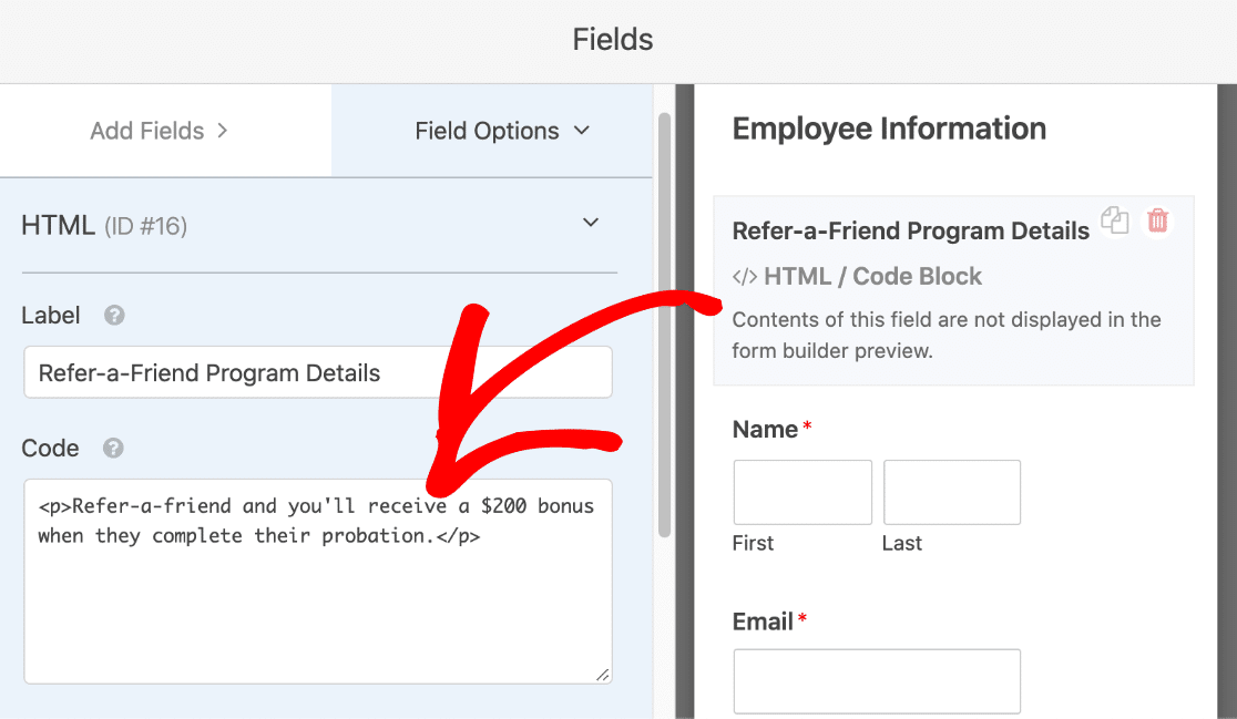 Refer-a-friend form with HTML