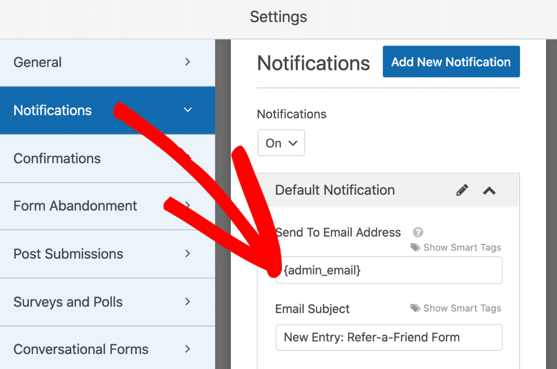 Refer-a-friend form notification settings
