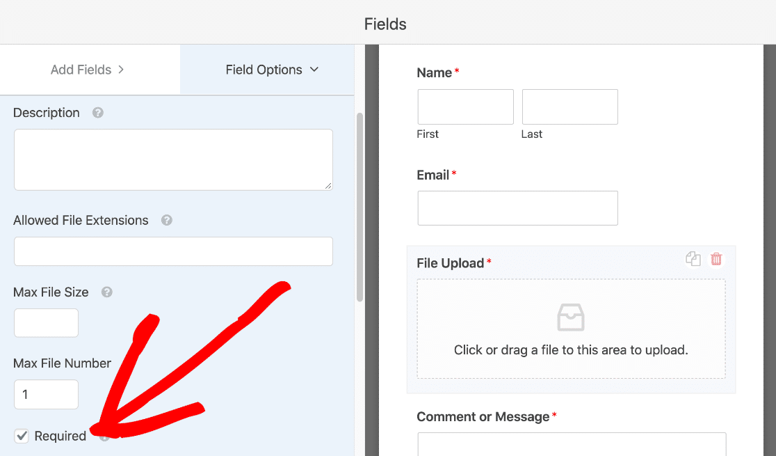 Require file upload on payment form