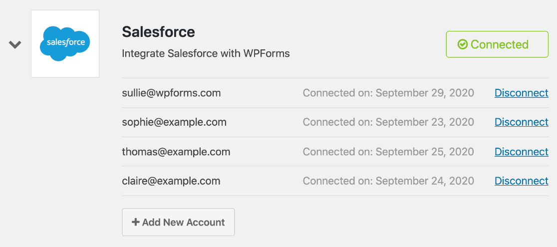 Multiple Salesforce accounts in WordPress integration