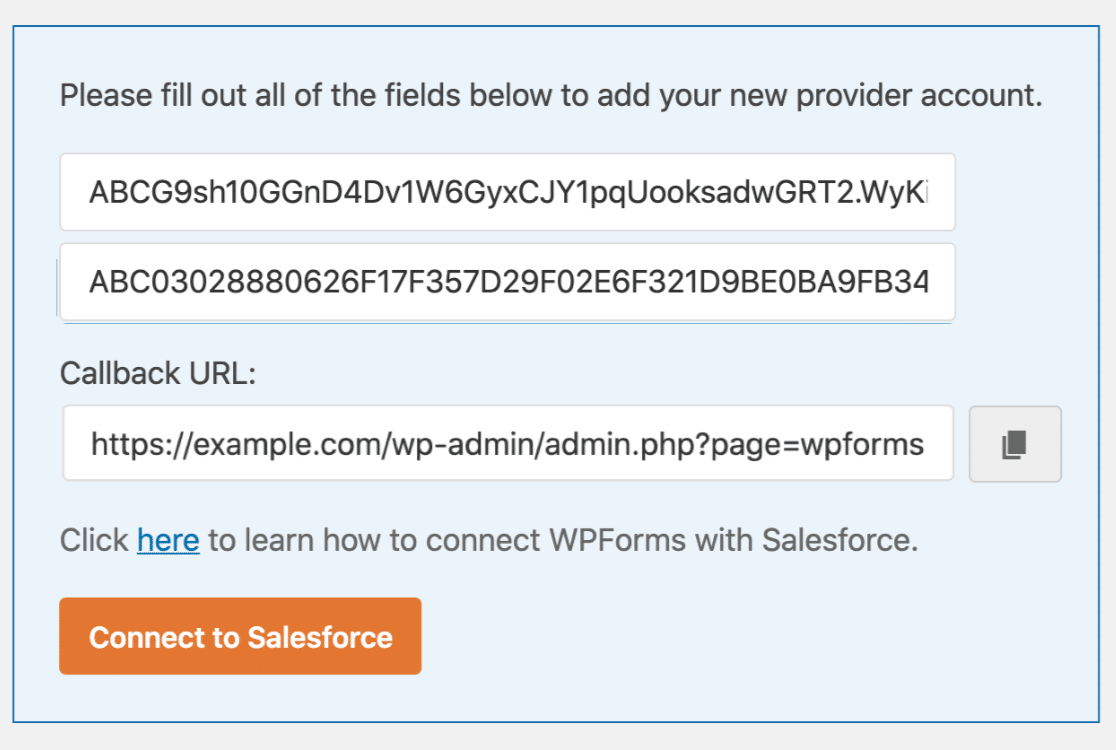 Salesforce API keys in WordPress