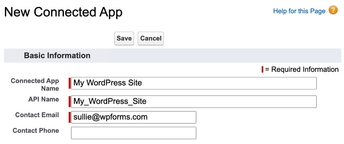 Create Salesforce app for WordPress integration