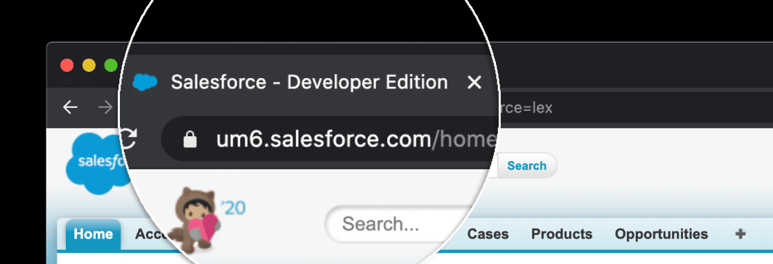 Salesforce edition in browser tab