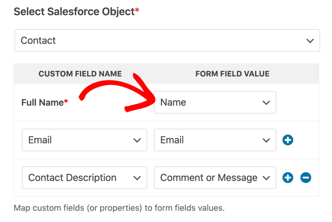 Salesforce field mapping in WPForms