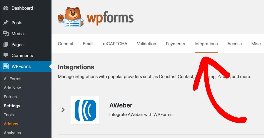 WPForms integrations