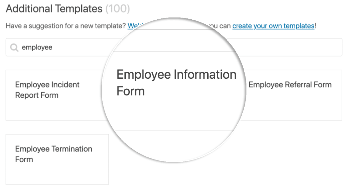 Choose the Employee Information Form template