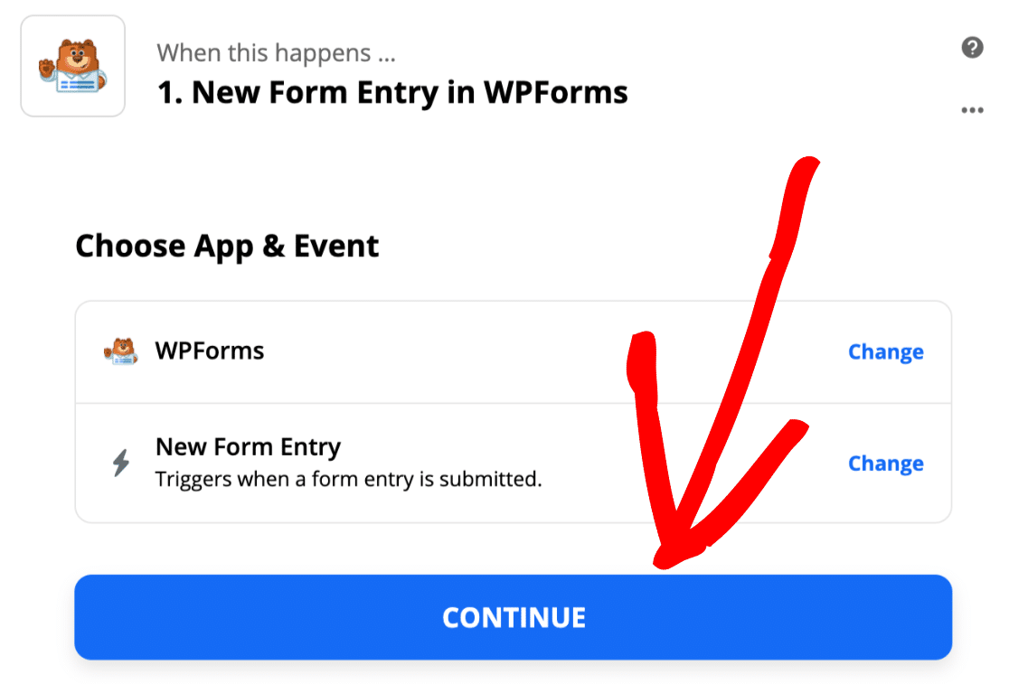 Choose New Form Entry trigger in Zapier