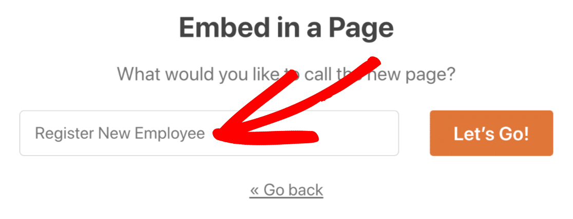Type in page name