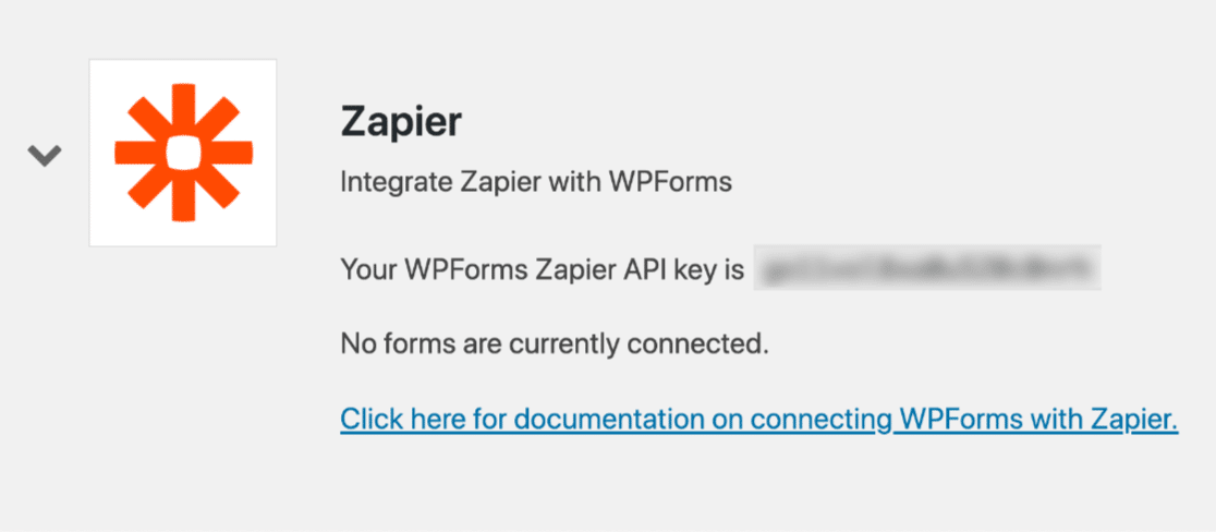 Zapier API key in WPForms