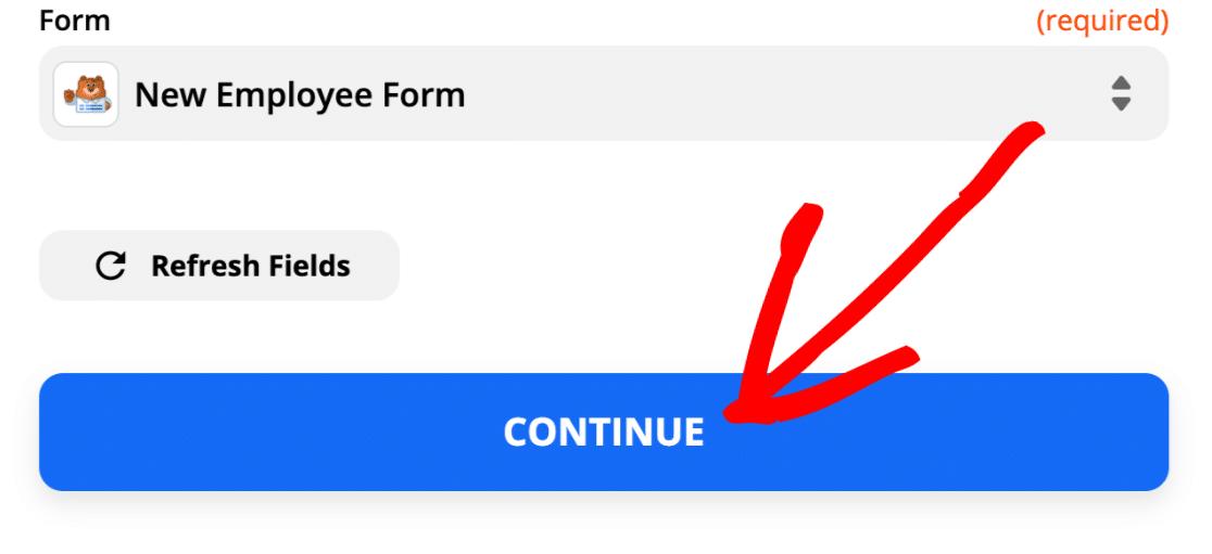 Select form to send Slack auto invite