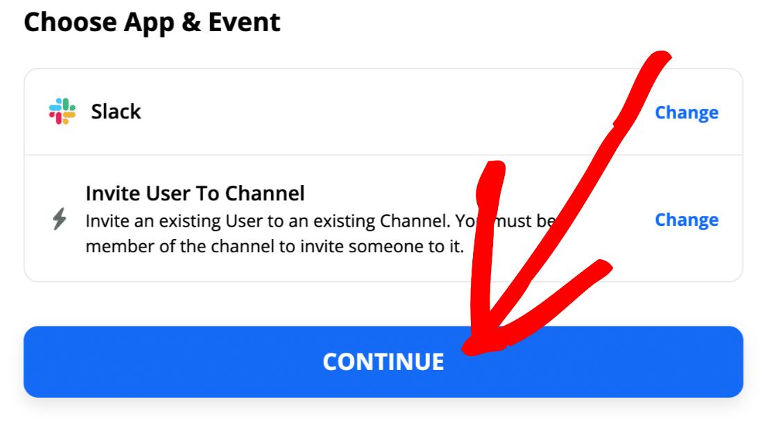 Invite user to Slack channel in Zapier