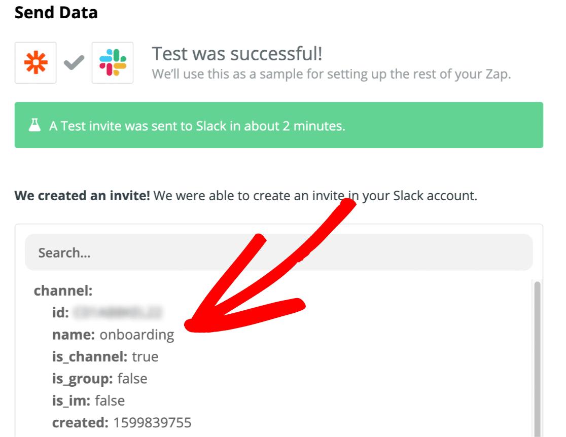 Successful test in Zapier