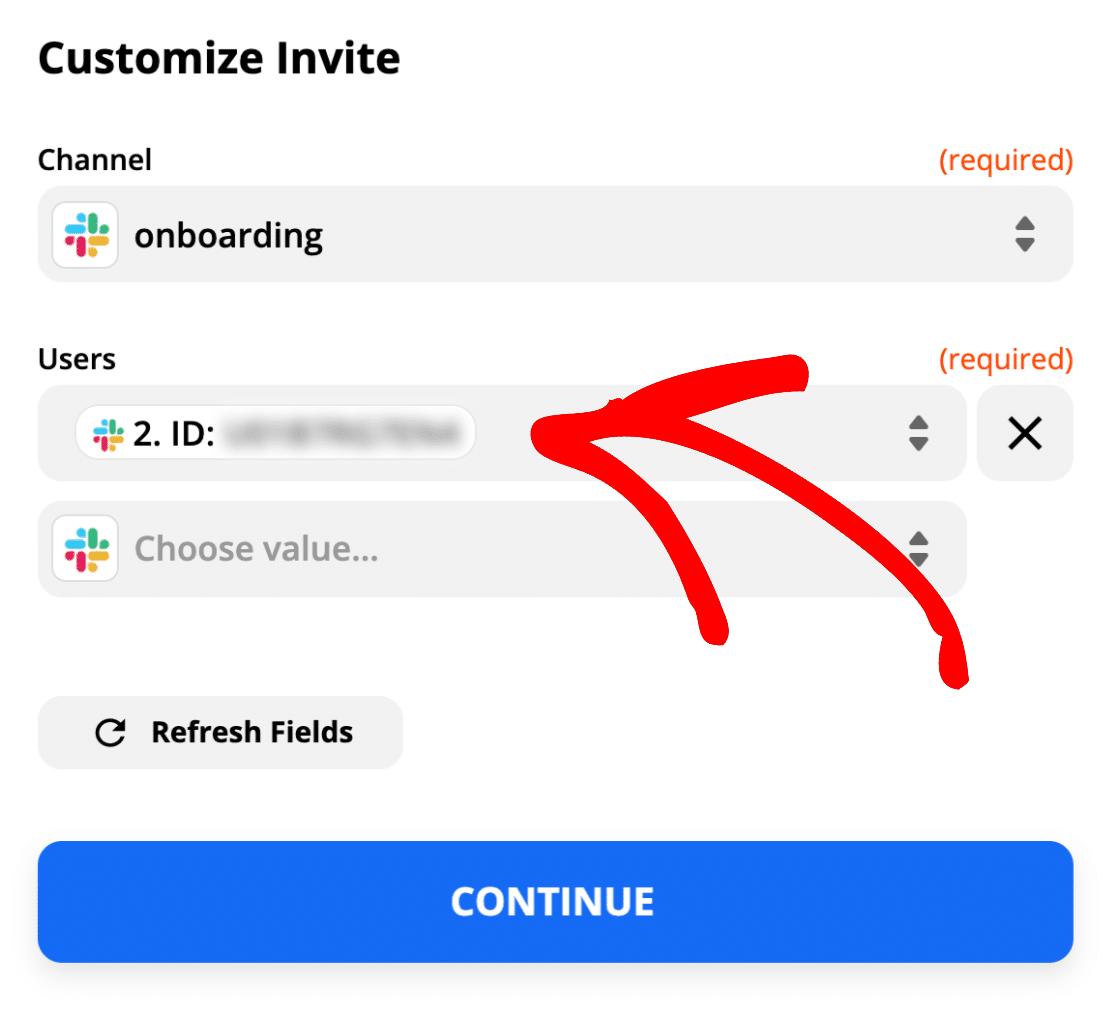 Insert Slack user ID in Zapier