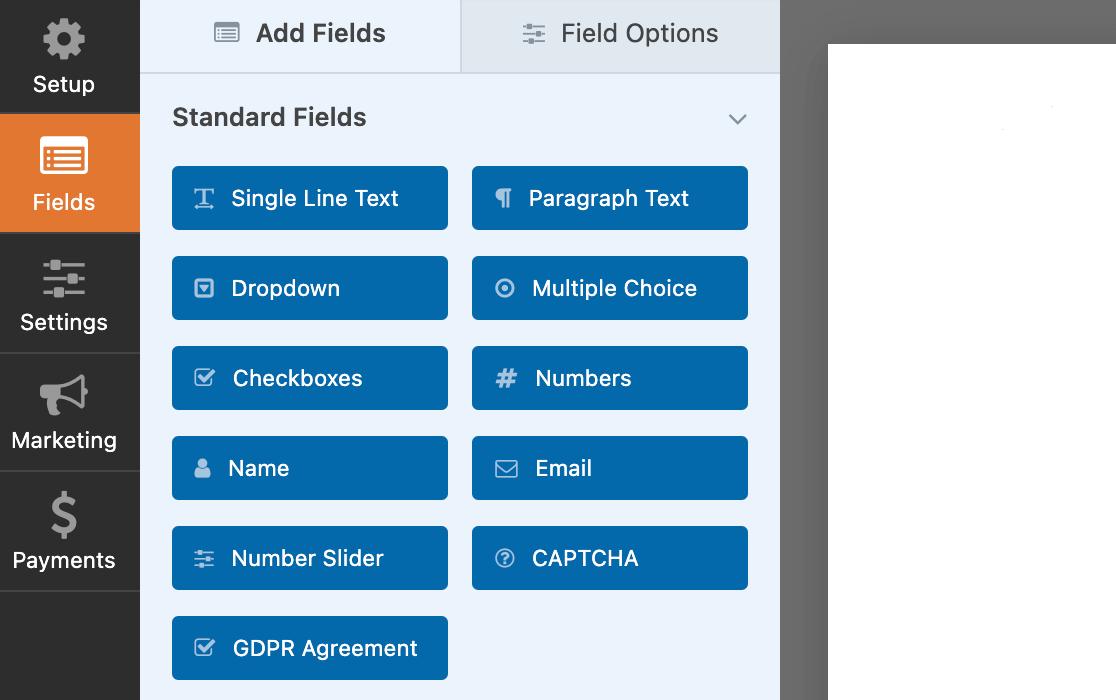 The WPForms Standard Fields