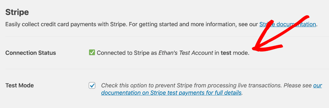 Stripe payments connected to WPForms