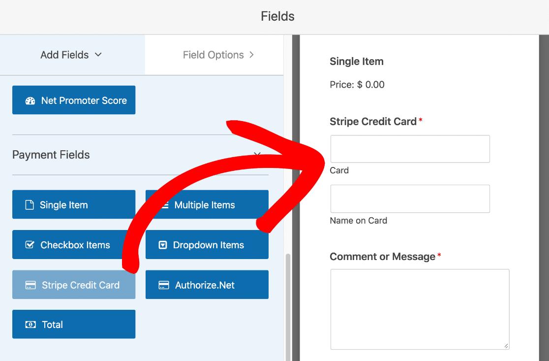Drag Stripe credit card field onto file upload form