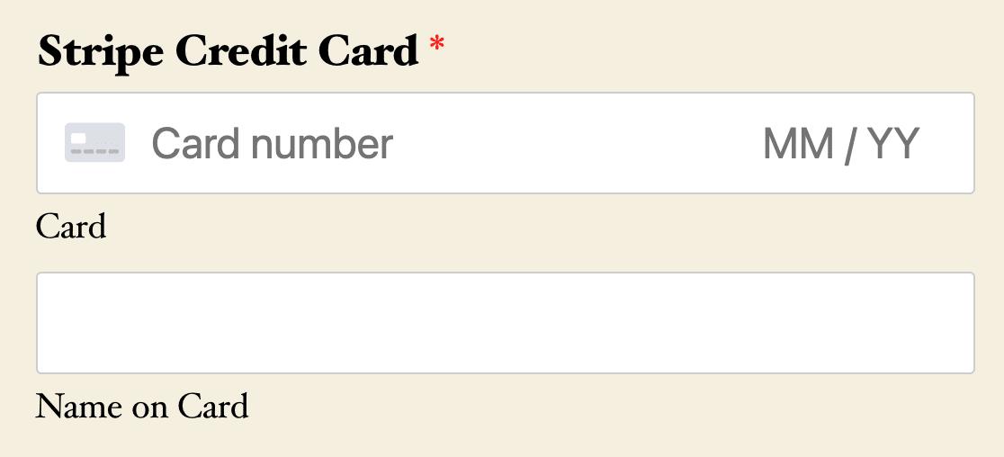 A Stripe Credit Card field