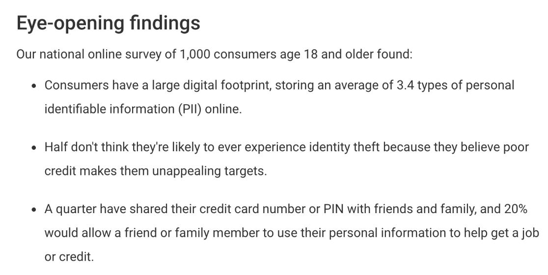 Survey summary with key facts