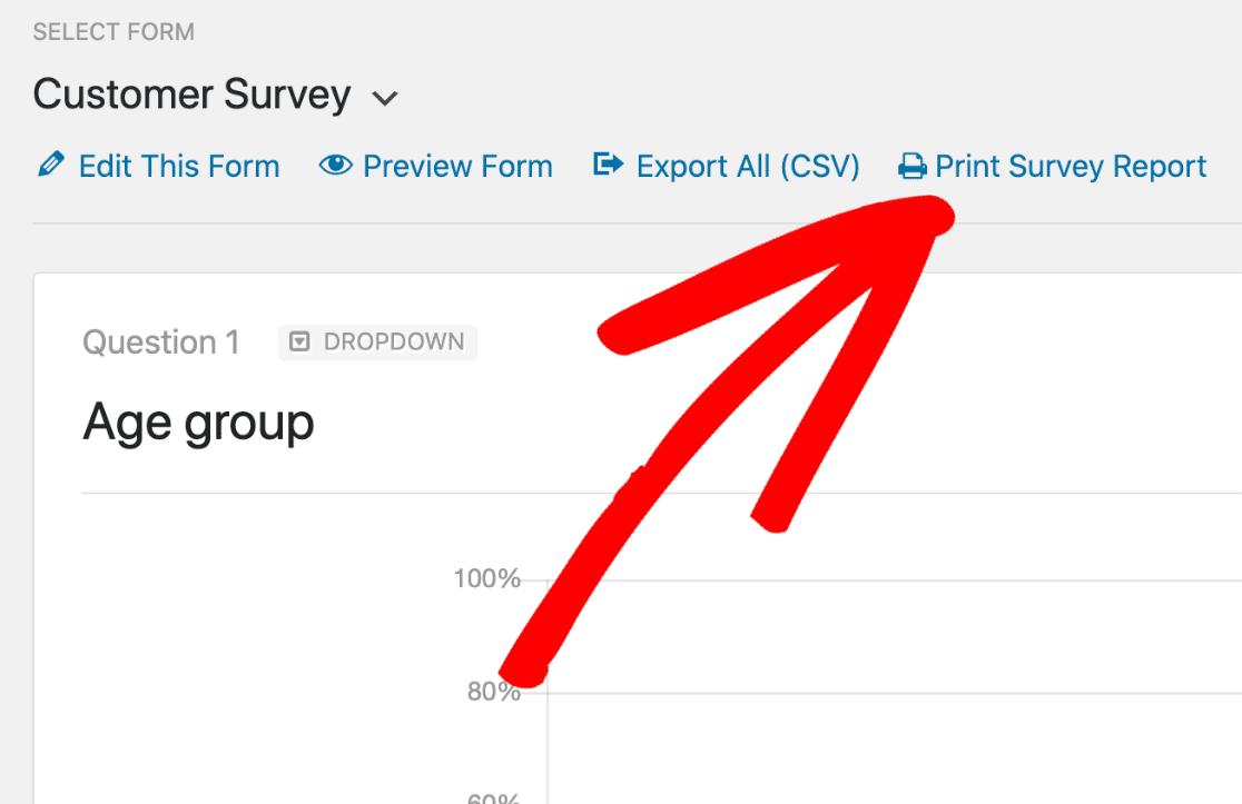 Print survey report in WordPress