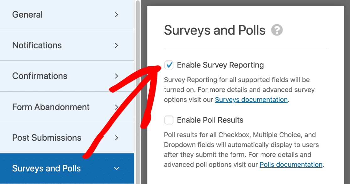 Turn on survey reporting for a form