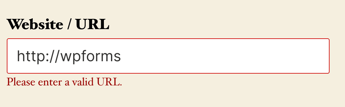 A validation message for a Website / URL field