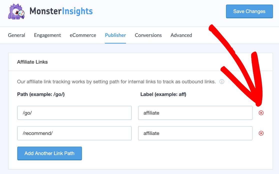 WordPress link tracking settings