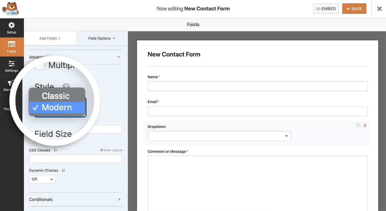 Add a modern dropdown field to your form