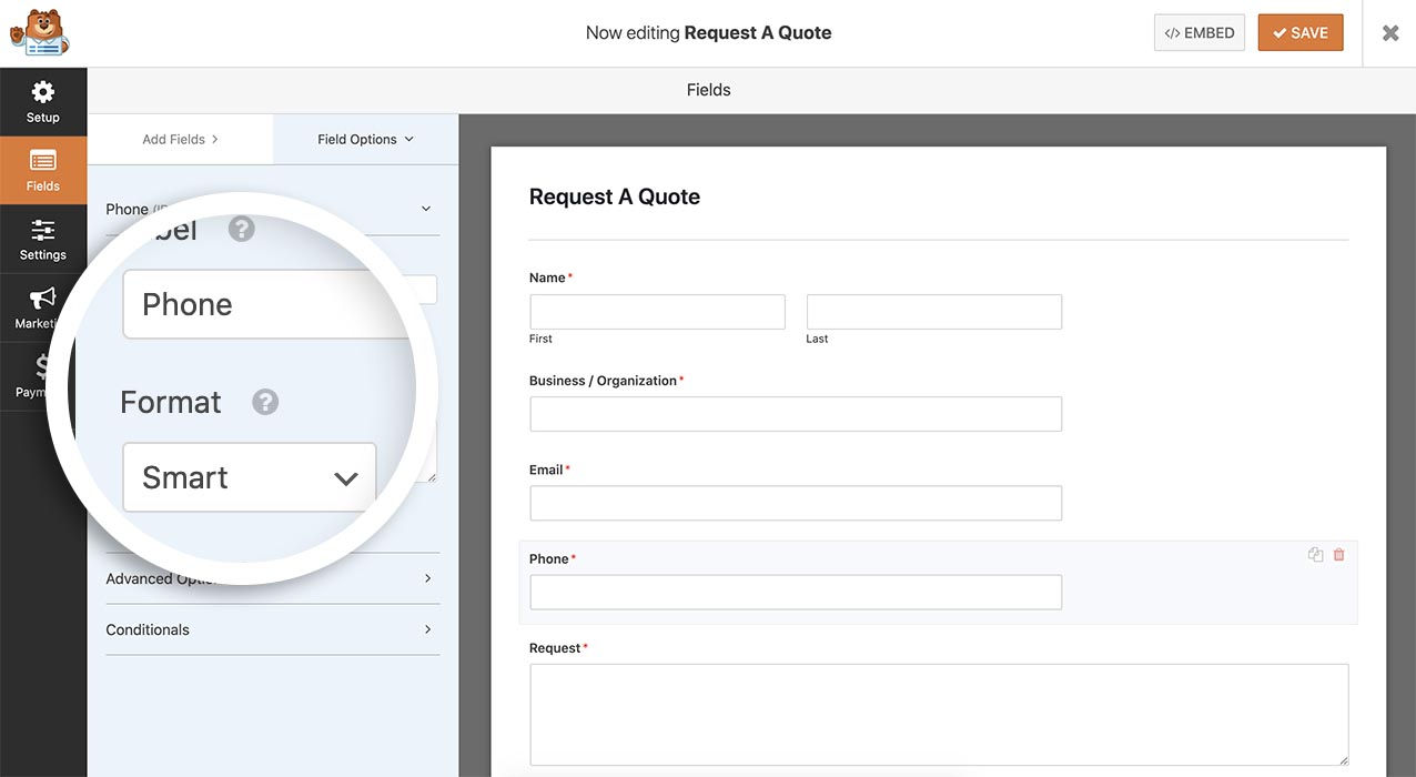 Add a phone form field to your form and from the field options, be sure to select Smart from the dropdown