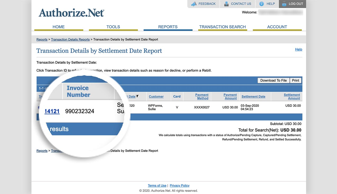 Now you can pass invoice through to Authorize.net