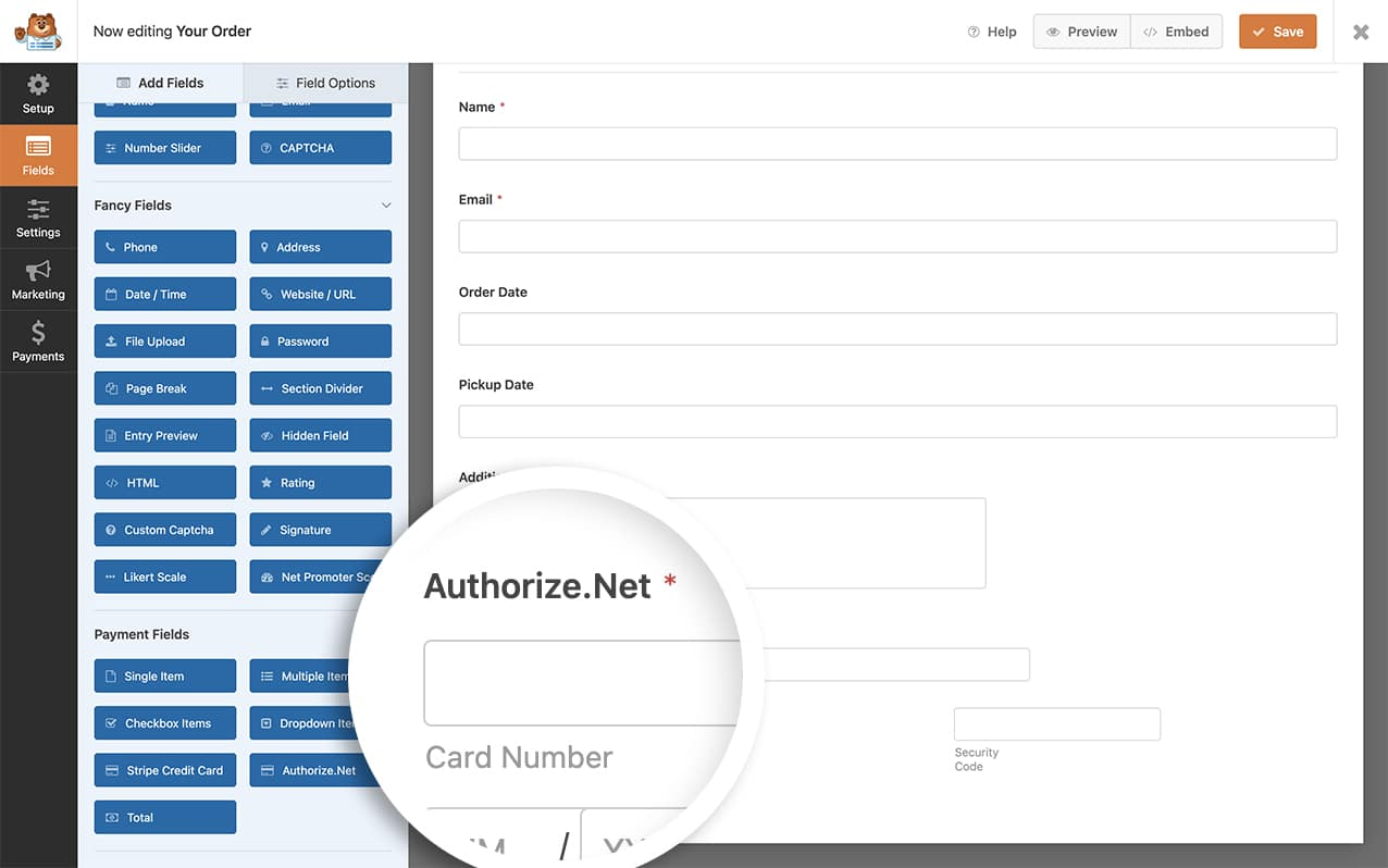 create the form first to send the invoice through to Authorize.net
