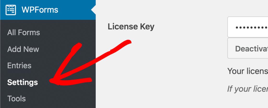 WPForms settings menu
