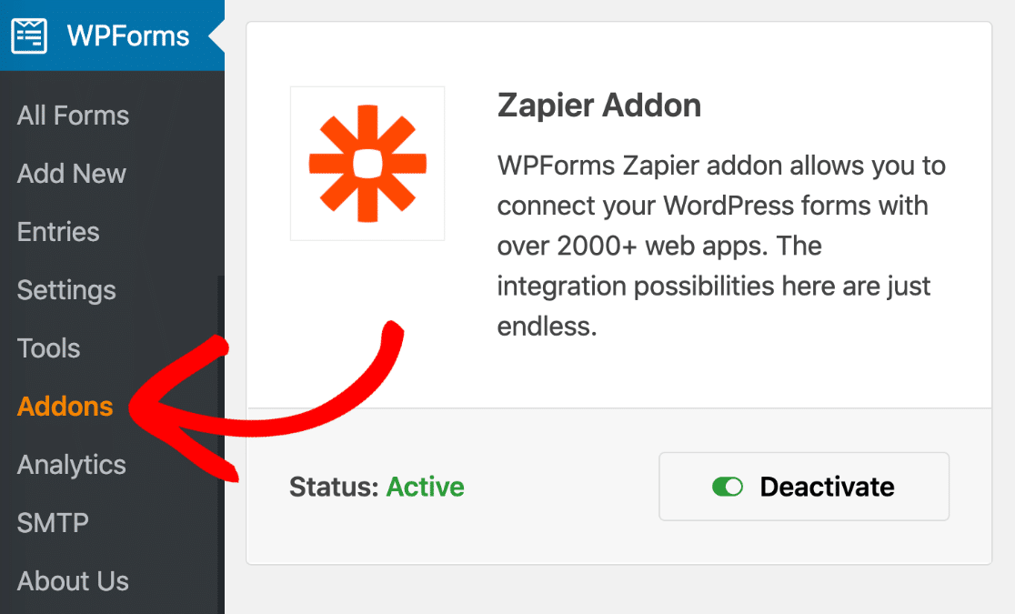 Install and activate the Zapier addon in WPForms
