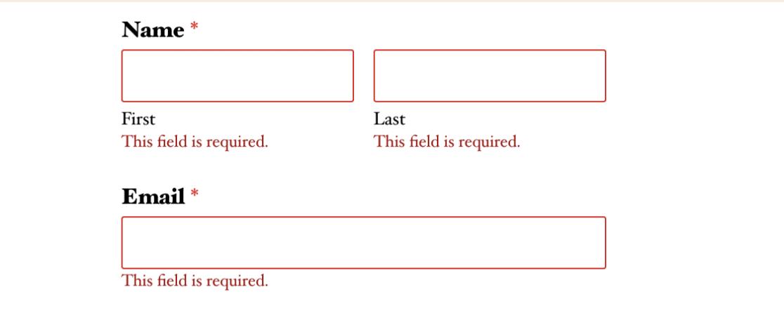 WPForms example validation message