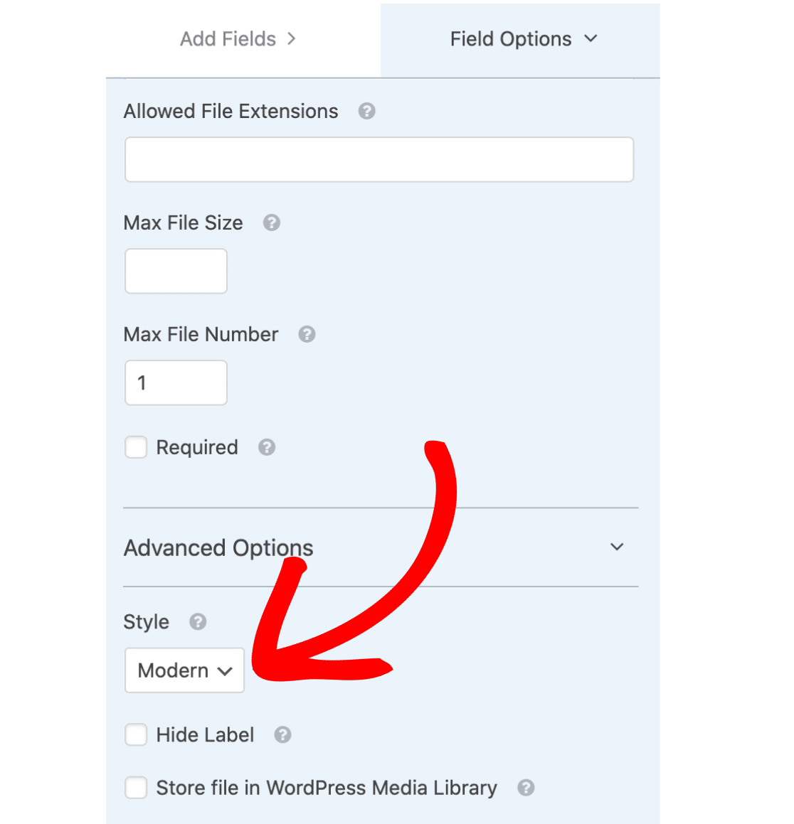 Style Options for File Upload