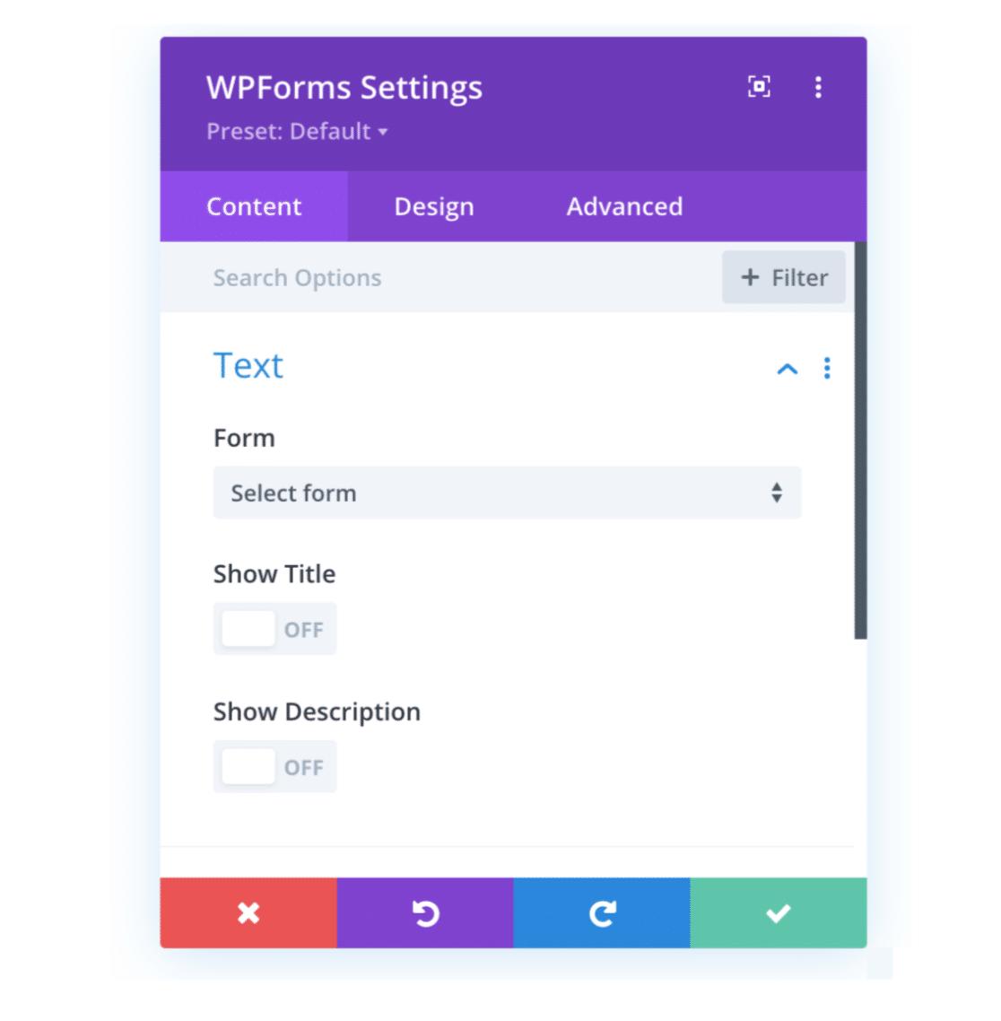 Paramètres du module WPForms
