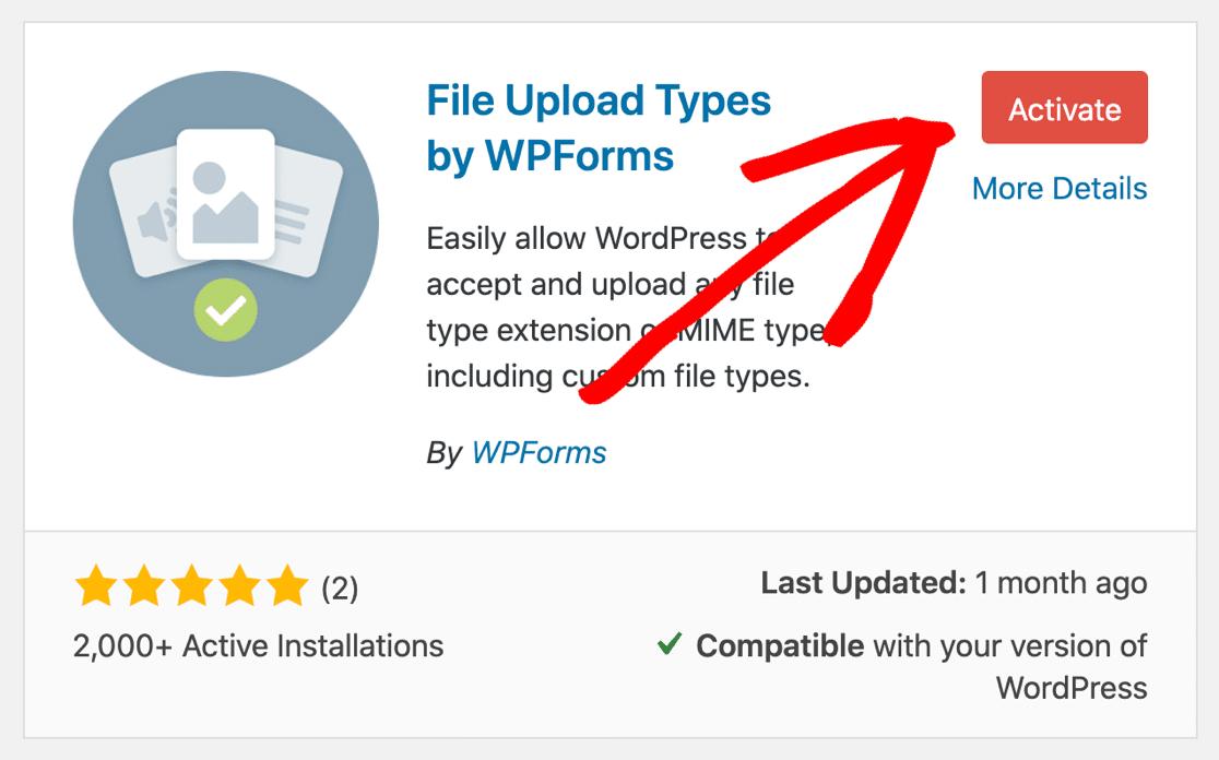 Activate File Upload Types plugin