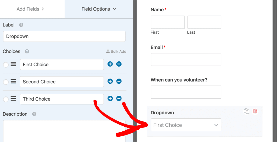 Drag multi select dropdown onto form