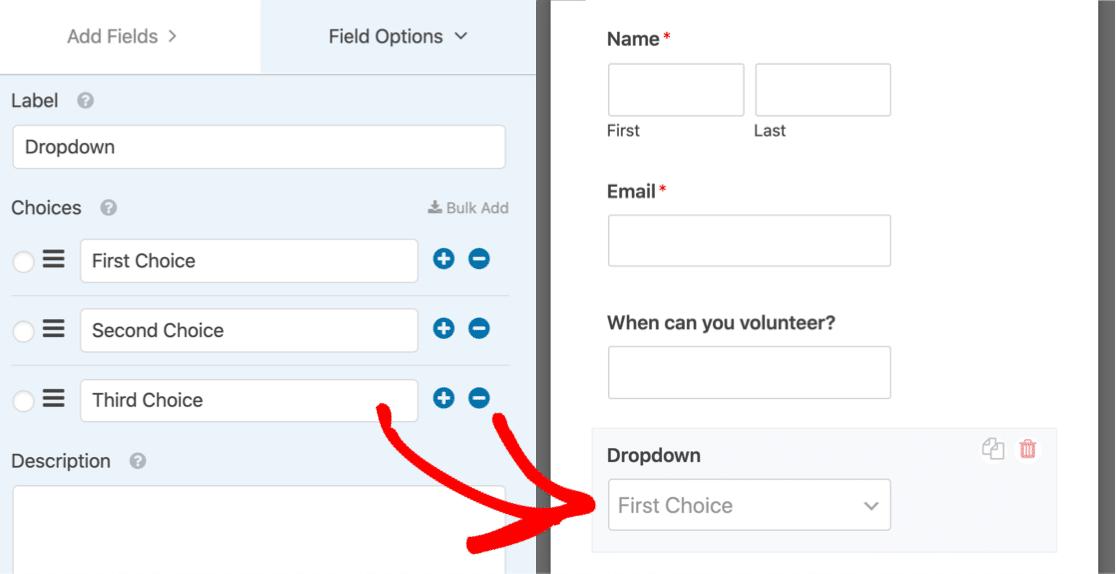 Drag multi select dropdown onto form
