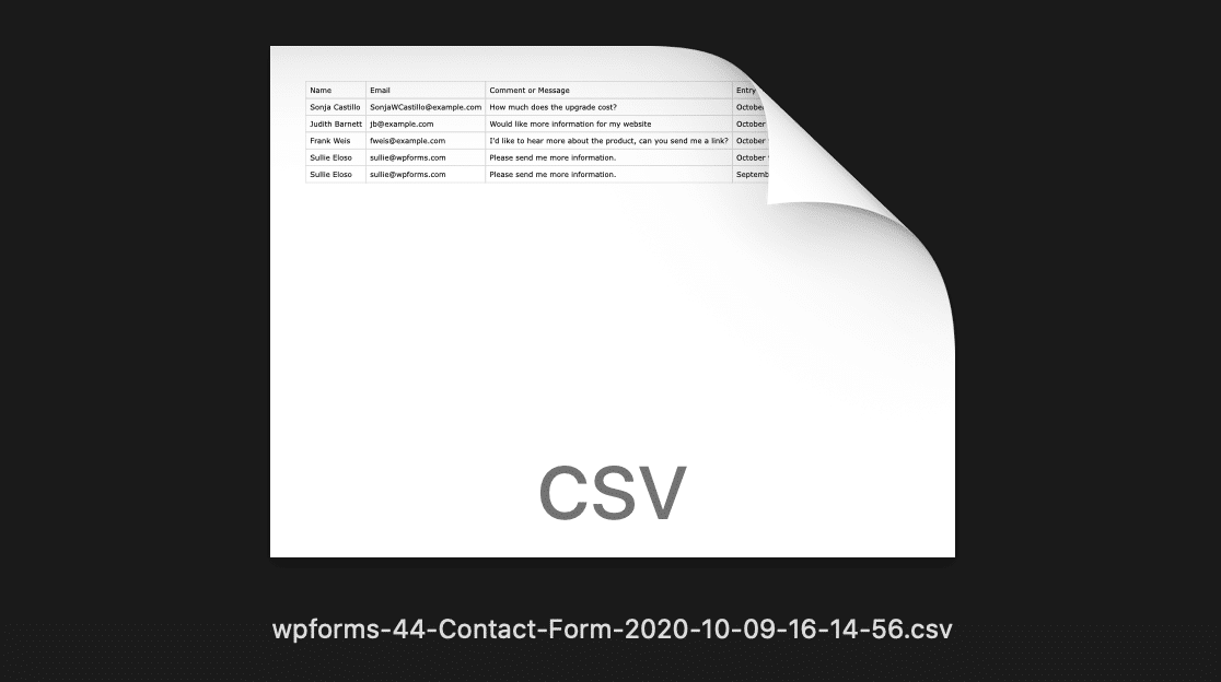 Export all form entries to CSV from WordPress