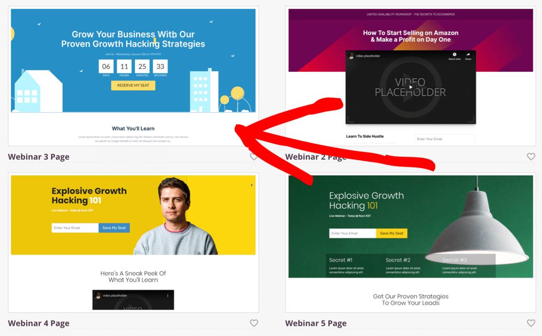 Choose a WordPress webinar landing page template in SeedProd