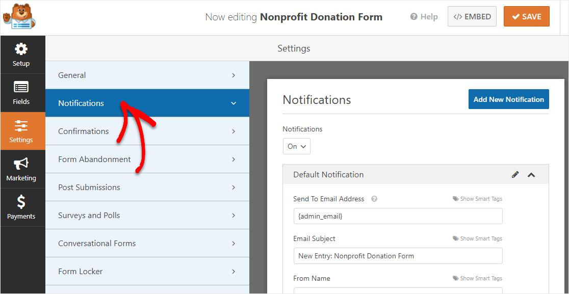 configure notifications on wordpress donation form