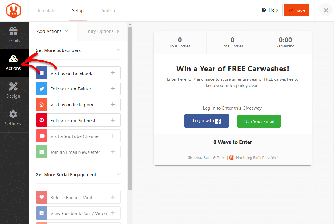 create wordpress contest with clicking on actions