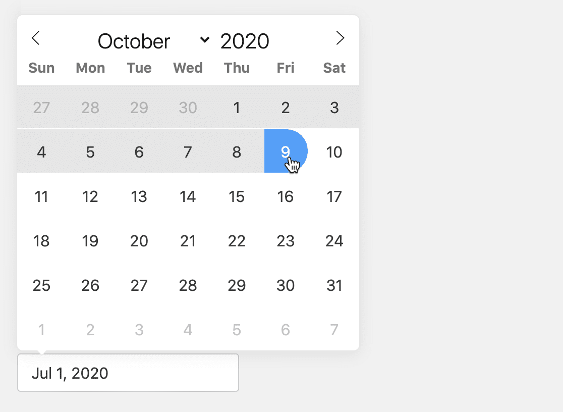 Choose the date range for your WordPress CSV form export