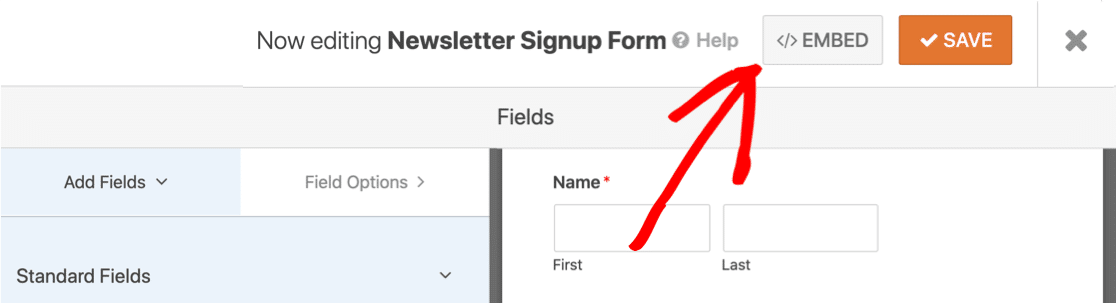 Embed signup form in WordPress