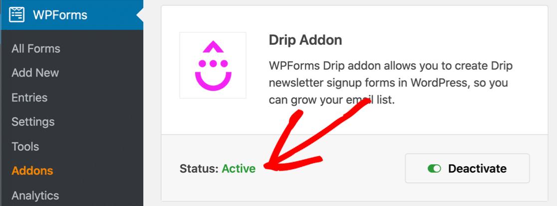 Drip WordPress plugin active in WPForms