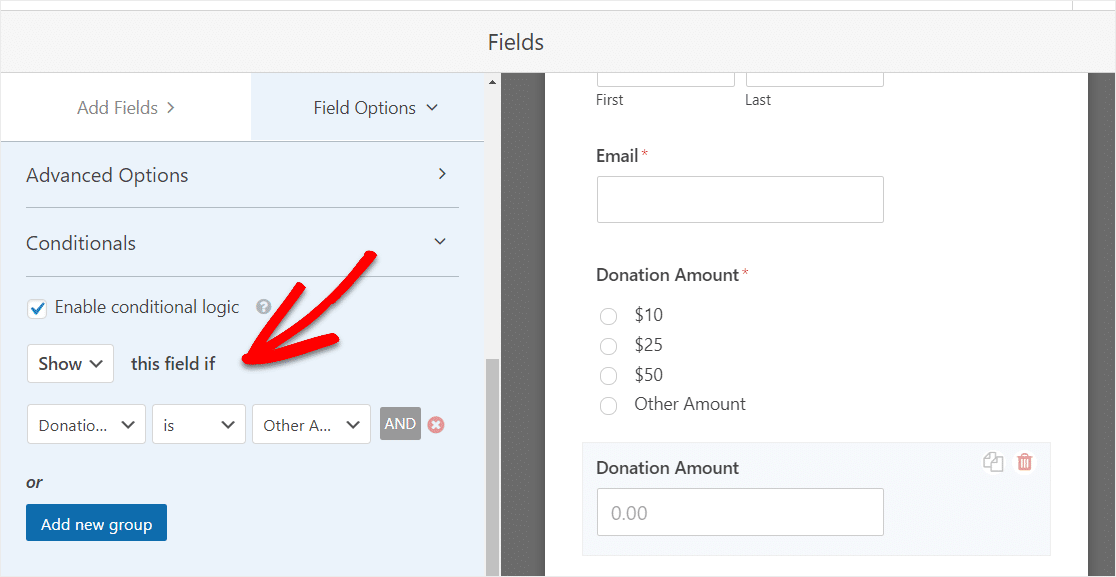 enable conditional logic on donation form template