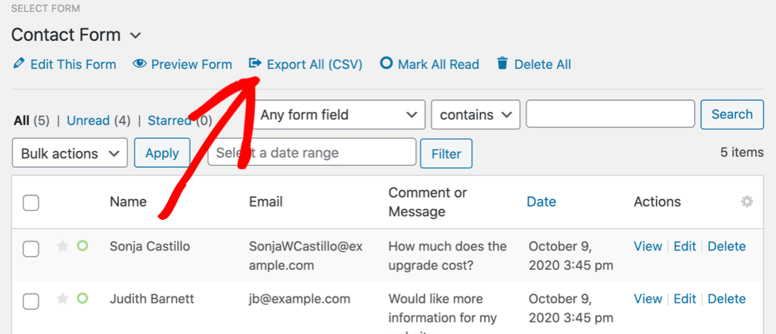 Export all WordPress contact form entries to CSV